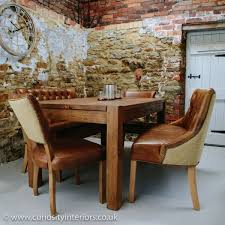 plank wood dining table leather