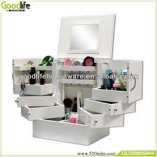 modern wooden mirror makeup organizer