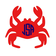 Monogrammed Crab Vinyl Sticker