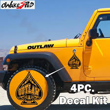 4 Pc Outlaw Spade Graphics Vinyl Decal Car Hood Fender Decor Sticker For Jeep Wrangler Auto Body Accessories Stickers Car Stickers Aliexpress