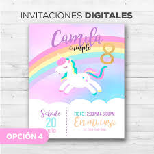 Tarjetas Invitacion De Unicornio Whatsapp Digitales Bs 500 00