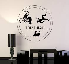 Vinyl Wall Decal Triathlon Sports Running Swimming Cycling Stickers Unique Gift Ig4841 Sports Wall Decals Wall Stickers Sports Triathlon