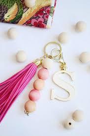 diy wood bead keychain beaded