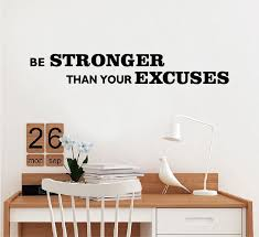 Be Stronger Than Your Excuses English Quote Vinyl Wall Sticker Decal For Gym Kids Rooms Bedroom Home Decor Wa0486 Wall Stickers Aliexpress