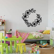 Girls Bedroom Flower Wreath Design Vinyl Decor Wall Decal Customvinyldecor Com