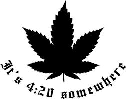 Amazon Com Pot Leaf Silhouette It S 4 20 Somewhere Marijuana Vinyl Sticker Car Decal 6 White Automotive