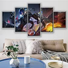 Waliicorners 5 Piece Hd Cartoon Pictures Beelzebumon Digimon Digital Monster Anime Poster Wall Sticker Canvas Paintings Wall Art Home Decor Waliicorner S Store
