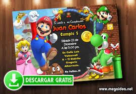 Invitacion Mario Bros Editable Gratis Mega Idea
