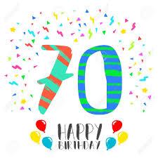 Numero 70 Del Feliz Cumpleanos Tarjeta De Felicitacion El Setenta
