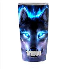 Amazon Com Skin Decal Vinyl Wrap For Yeti 20 Oz Rambler Tumbler Cup Skins Stickers Cover Wolf Glowing Eyes Fire Kitchen Dining