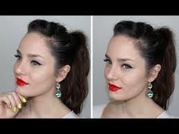 everyday glam makeup red lips and snow