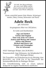 Traueranzeigen von Adele Beck | WAZ.Trauer.de