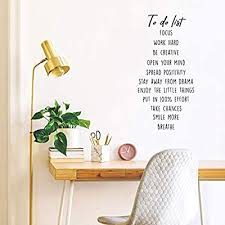 Vinyl Wall Art Decal Positive Affirmations To Do List 30 X 14 5 Trendy Inspirational Quote For Home Bedroom Living Room Office Work School Decoration Sticker Amazon Sg Home
