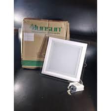 Đèn LED âm trần vuông mặt kính thủy tinh 18W ánh sáng vàng JUNSUN