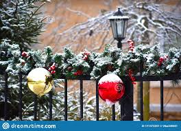 Winter Christmas Decoration On The Fence Of The House Beautiful New Years Balls On The Fence Of The Cottage Stock Image Image Of Gate Door 171373207