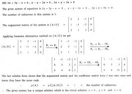 geneous system of linear equations