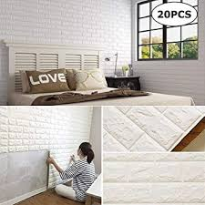 Amazon Com Chming 20pcs 3d Brick Wall Stickers Self Adhesive Wallpaper Peel And Stick 3d Wall Panels For Tv Walls Sofa Background Wall Decor 20 Pack White 115 Sq Feet Home Kitchen
