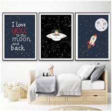 Amazon Com Yxjj1 Flying Saucer Moon Rocket Posters And Prints Wall Art Canvas Painting Nordic Poster Wall Pictures For Kids Room Home Decoration 40x60cmx3 No Frame Posters Prints