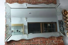 beveled and engraved mirror at 1stdibs