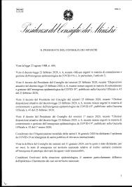 CORONAVIRUS - Il nuovo decreto del Presidente del Consiglio dei ...