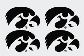 Iowa Hawkeye Tigerhawk Set Vinyl Decals