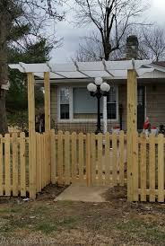 Picket Fence Gate With Arbor Pergola Completed Vinyl White Home Elements And Style Lowe S Wood Building A Sketch Of Guard Cartoon Open Crismatec Com