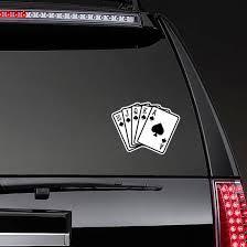 Spade Royal Straight Flush Poker Hand Sticker