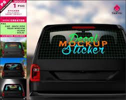 Decal On Black Car Rear Window Photoshop Sticker Mockup Etsy