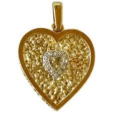 heart charm pendant diamond accent