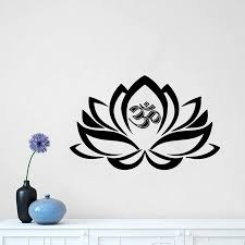 Lotus Flower With Om Sign Yoga Wall Decals Wall Vinyl Decal Interior Removeable Home Decor Housewares Art Vinyl Stickers G263 Wall Stickers Aliexpress
