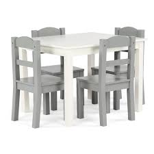 Shop Springfield 5 Piece Wood Kids Table Chairs Set In White Grey Overstock 21801852