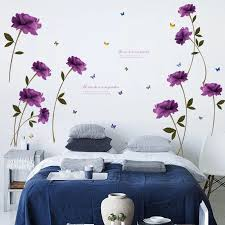 Romantic Purple Rose Flower Wall Sticker Vinyl Diy Rose Wall Decals For Living Room Bedroom Couples Room Home Decoration Murals Rose Wall Decals Wall Decalsflower Wall Sticker Aliexpress