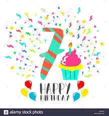 Feliz Cumpleanos Numero 7 Tarjeta De Felicitacion Para Siete Anos