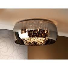 6 light crystal flush ceiling light