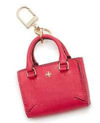 mini tote bag charm key fob dark peony