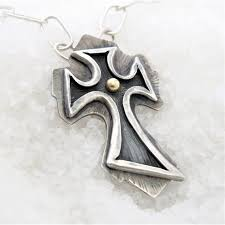 silver gold plated cross man necklace