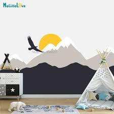 2m Large Size Hilltop Mountain Wall Decal Diy Self Adhesive Nursery Wall Decor Art Mountain Mural Home Decorative Sticker Lc1240 Wall Stickers Aliexpress