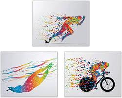 Amazon Com Triathlon Wall Art Decor Set Of 3 8x10 Poster Photos Swimming Bike Run Posters Prints