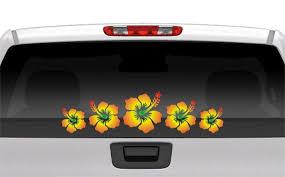 1 4x16 Hibiscus Flower Decal Row Rasta Island Etsy