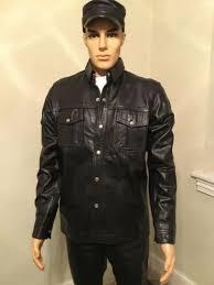 mens zip front leather jacket black