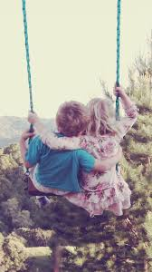 cute couple swing in forest on we heart it