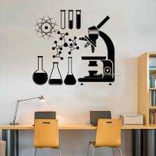 Microscope Science Murals Wall Decals Art Scientist Chemistry Atom Beaker Window Sticker Decal Vinyl Interior Wall Decor Lc1421 Wall Stickers Aliexpress