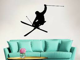 Downhill Skiing Wall Decal Skier Snow Freestyle Jumping Sport Bedroom Dorm Zx111 Ebay