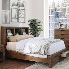 rustic wood california king storage bed