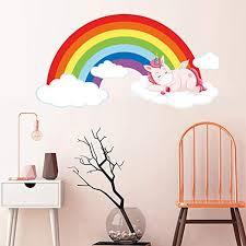 Amazon Com Wall Stickers Murals Rainbow Unicorn Sleeping On Cloud Wall Stickers Room Decoration Art Vinyls Decals Children Kids Living Room Bedroom Home Mural Kitchen Dining