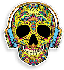 Amazon Com Sugar Skull Headphone Sticker Cup Cooler Laptop Car Window Bumper Vinyl Graphic Decal Everything Else
