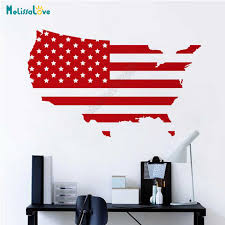 Usa Map American Flag Office Decal Home Living Room Decor United States Sticker Company Removable Vinyl Wall Stickers B919 Wall Stickers Aliexpress