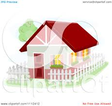 Clipart Bunbalow House With A White Picket Fence Royalty Free Vector Illustration By Bnp Design Studio 1112412