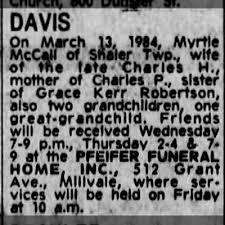 Obituary for Myrtle DAVIS - Newspapers.com