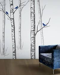 Realistic Birch Forest With Owls And Birds Wall Decal